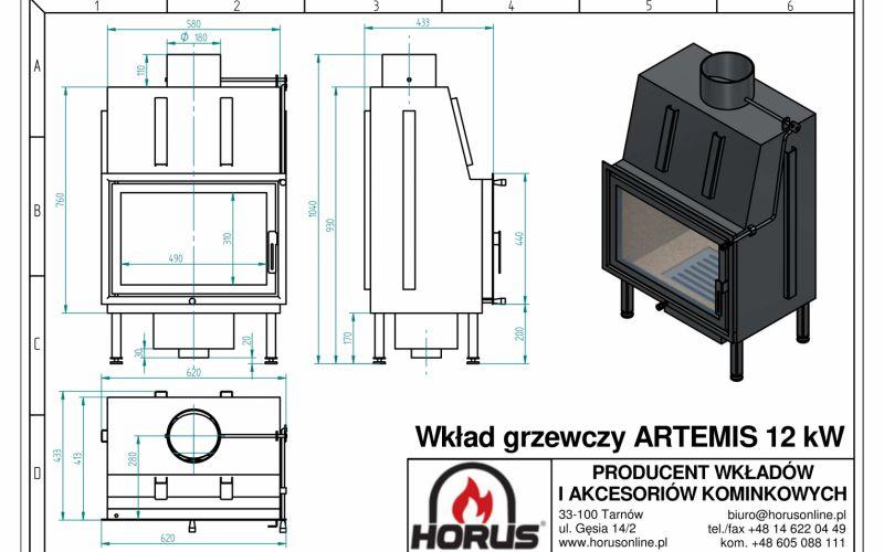 Wkład  grzewczy  Artemis 12 kW