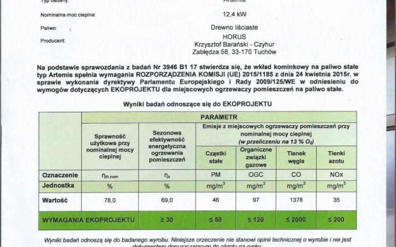 Potwierdzenie badan na Ekoprojekt  wkład typ Artemis